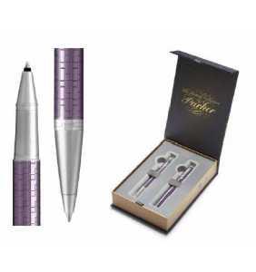 Premium RB and BP Pen Duo Gift Set - Parker - Dark Violet Chrome Trim