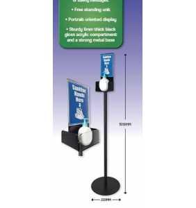 Hand Sanitiser Station Free Standing Bollard Black